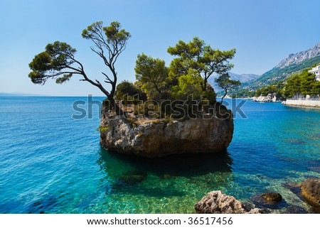 Island and trees in Croatia - nature vacations background - stock photo