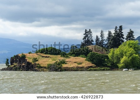 Island at Columbia River Gorge, Pacific Northwest, between Oregon and Washington - stock photo