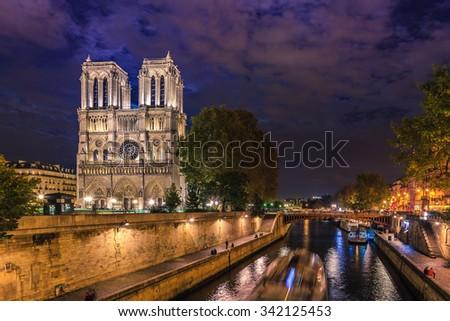 Island Cite with cathedral Notre Dame de Paris, France  - stock photo