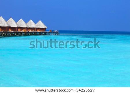 Island in ocean, Maldives. - stock photo