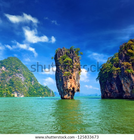 Island in Thailand Phuket. James Bond island geology rock formation  - stock photo