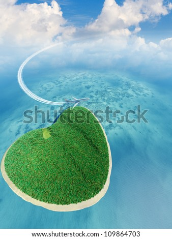 Island in the form of heart and the flying plane. 3D rendering - stock photo