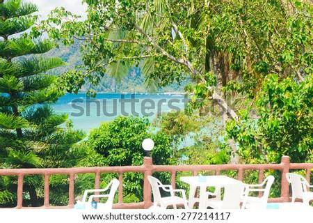 Island Lagoon Green View  - stock photo