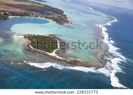 Island Mauritius. Aerial View - in front the island Deux Cocos. - stock photo