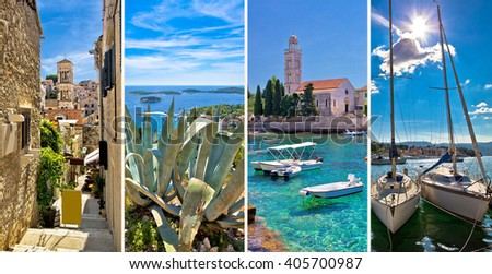 Island of Hvar tourist collage, Dalmatia, Croatia - stock photo
