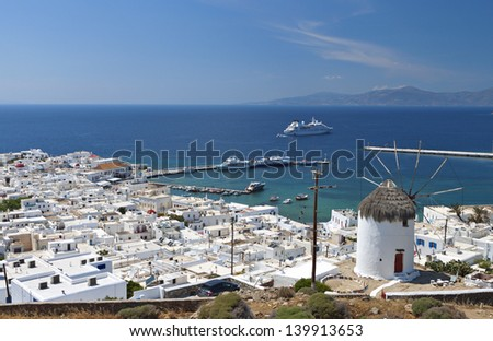Island of Mykonos at the Cyclades of the Aegean sea in Greece - stock photo