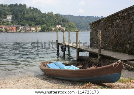 Island of Orta San Giulio, Orta lake, Italy. - stock photo