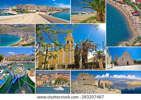 Island of Pag summer collage, Dalmatia, Croatia - stock photo
