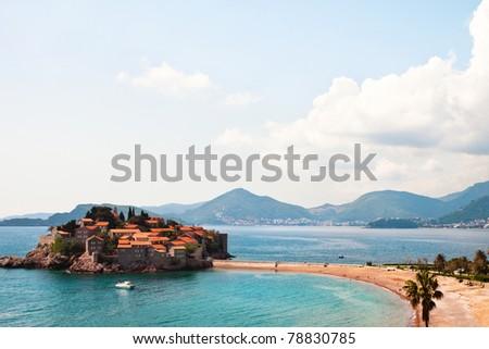 Island of Sveti Stefan in Montenegro, Mediterranean - stock photo