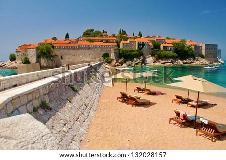 Island of Sveti Stefan -resort-island - Montenegro - stock photo