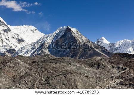 Island Peak or Imja Tse view on the way to Everest Base Camp in Sagarmatha National Park, Himalayas, Nepal. - stock photo