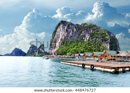 Island scenery.Seascape in Thailand.Phuket beach.Seascape in Thailand.Phuket beach.Gypsy Nomad village - stock photo