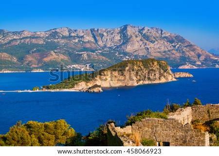 Island St. Nicholas in Budva Montenegro - travel background - stock photo