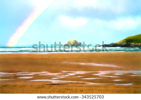Island with sand sea and a rainbow like water colour - stock photo