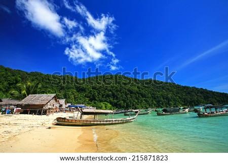 Islander's Morgan Sea Gypsy Hut, Surin Island, Pheang-gna,Thailand - stock photo
