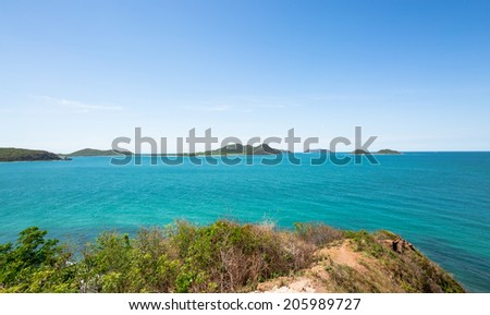 Islands and blue sea in summer - stock photo