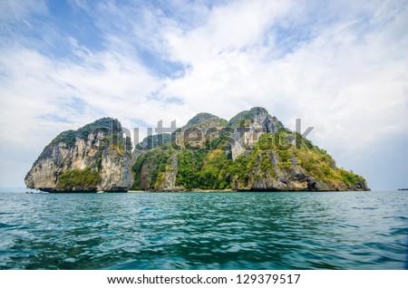 Islands at the national hat noppharat thara, Krabi, Thailand (during storms) - stock photo