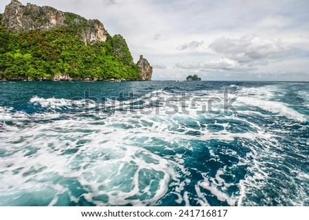 Islands in Andaman sea near Phi Phi islands. Thailand - stock photo