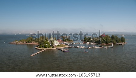 Islands in the southern harbor of Helsinki. - stock photo