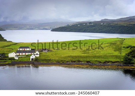 Isle of Skye scenery, Scotland - Skye is the largest and most northerly large island in the Inner Hebrides. Skye has provided the locations for feature films and is celebrated in poetry and song.  - stock photo
