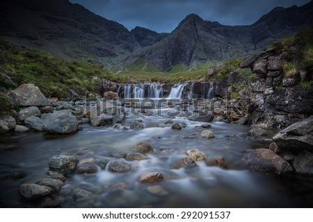 Isle of Skye, Scotland. The famous Fairy Pools during a very cloudy day. - stock photo