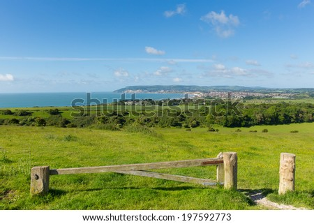 Isle of Wight coastal view towards Shanklin and Sandown from Culver Down - stock photo