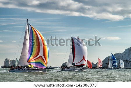 ISLE OF WIGHT - JUNE 1st: The annual JP Morgan Asset Management, Round the Island yacht race took place off the south coast of England, attracting some 1400 entrants on 1st June 2013. - stock photo