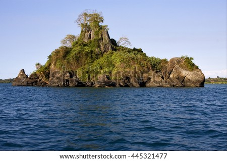 isle river   palm  rock stone branch hill lagoon and coastline in madagascar nosy be nosy faly - stock photo
