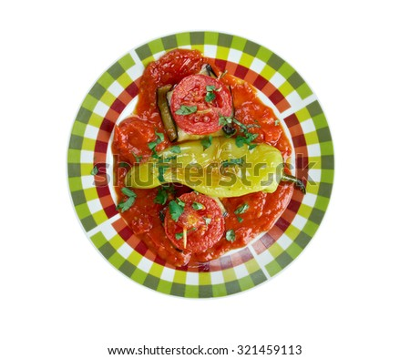 Islim Kebab���± - Turkish kofte wrapped in aubergine slices and baked in a tomato sauce  - stock photo