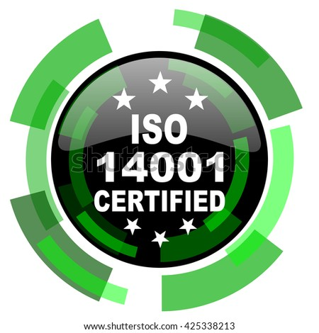 iso 14001 icon, green modern design glossy round button, web and mobile app design illustration - stock photo