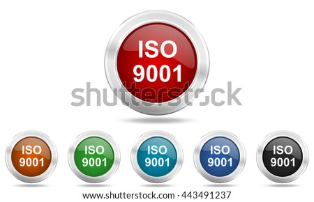 iso 9001 round glossy icon set, colored circle metallic design internet buttons - stock photo
