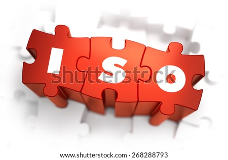 ISO - Text on Red Puzzles with White Background. 3D Render.  - stock photo