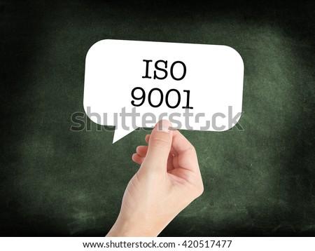 ISO 9001 written on a speechbubble - stock photo