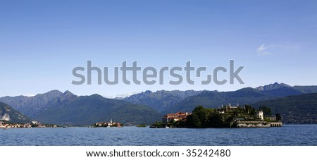 isola bella and isola pescatori on lake maggiore in italy. - stock photo