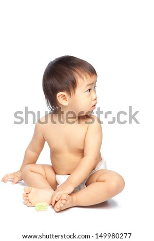 isolate asian baby sitting  on white background - stock photo
