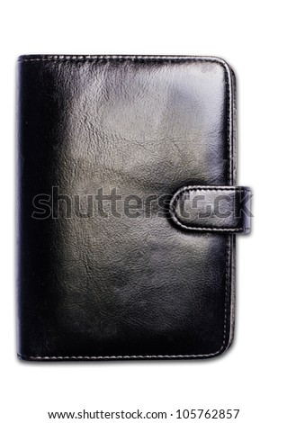 isolate Black note book on white background - stock photo