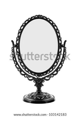 Isolate Black Vintage Mirror - stock photo