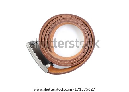 isolate brown leather belt on white background - stock photo