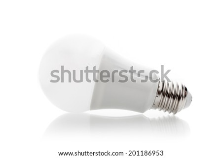 isolate energy saving LED light bulb - stock photo