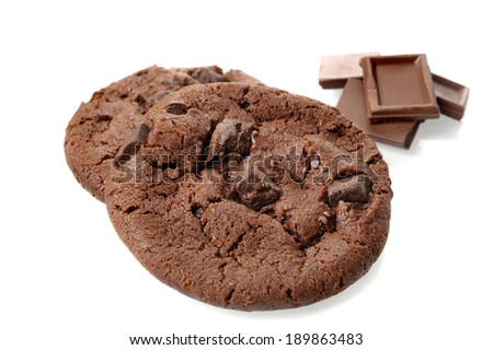 isolate fresh chocolate cookies with chocolate chips - stock photo
