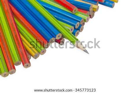 isolate one sharp pencil with all another not sharp pencil with clipping path - stock photo