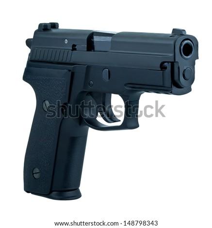 isolate semi automatic gun on white background - stock photo
