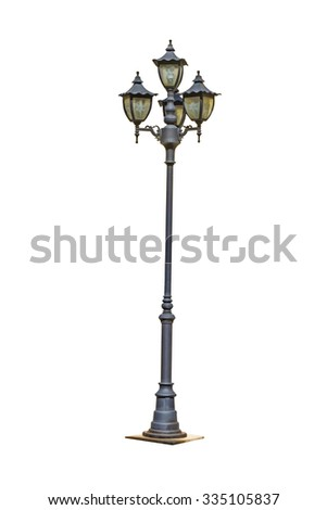 isolate street electric lamp post on white  - stock photo