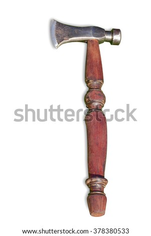 isolate style picture of axe that is traditional instrument for wood industry Used Ax with wooden handle, This has clipping path.  - stock photo