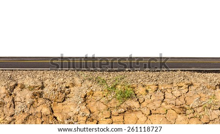 Isolate the side of the new road paved with earth parched patch on the bottom. - stock photo