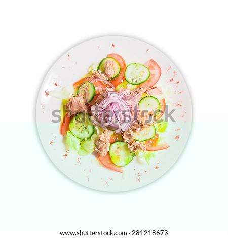 isolate tuna salad on a plate - stock photo
