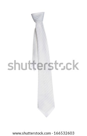 isolate white necktie on white background - stock photo
