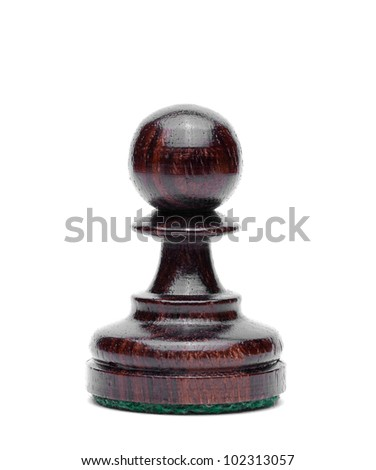 Isolate Wooden Pawn Chess - stock photo
