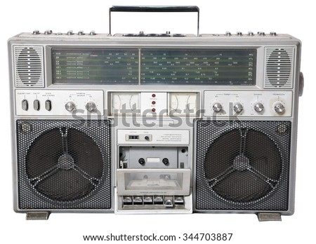 Isolated a old Cassette player from 70s - stock photo