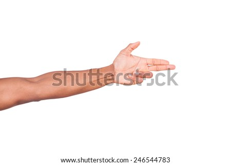 Isolated african hand making gun gesture - stock photo